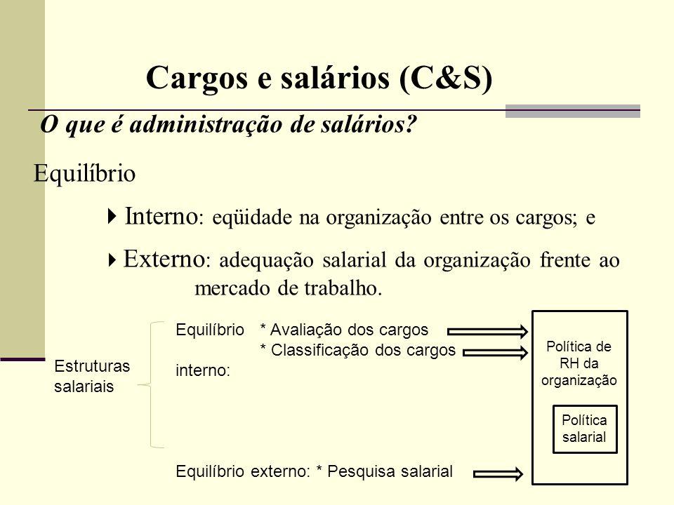 Cargos e salários (C&S) O que é administração de salários? Equilíbrio Interno : eqüidade na organização entre os cargos; e Externo : adequação salaria