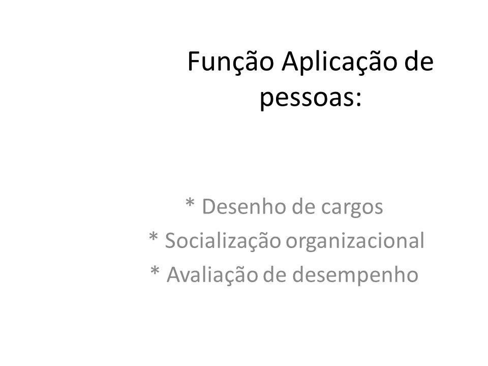Função Aplicação de pessoas: * Desenho de cargos * Socialização organizacional * Avaliação de desempenho