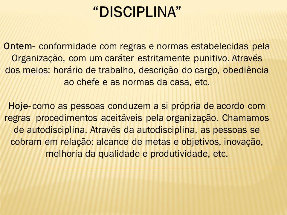 DISCIPLINA Ontem- conformidade com regras e normas estabelecidas pela Organização, com um caráter estritamente punitivo. Através dos meios: horário de