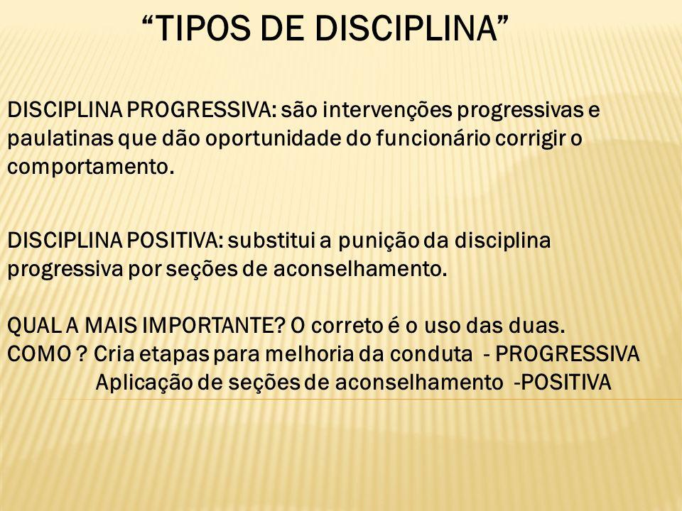 TIPOS DE DISCIPLINA DISCIPLINA PROGRESSIVA: são intervenções progressivas e paulatinas que dão oportunidade do funcionário corrigir o comportamento. D