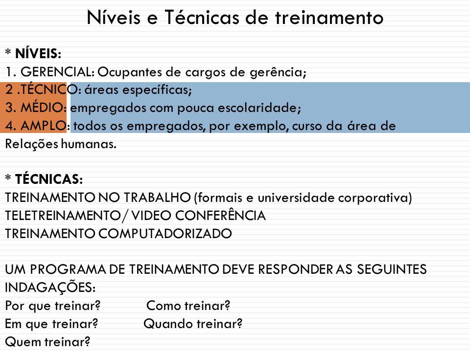 Níveis e Técnicas de treinamento * NÍVEIS: 1. GERENCIAL: Ocupantes de cargos de gerência; 2.TÉCNICO: áreas específicas; 3. MÉDIO: empregados com pouca