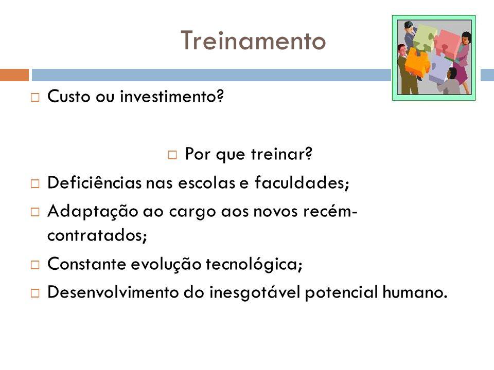 Treinamento Custo ou investimento? Por que treinar? Deficiências nas escolas e faculdades; Adaptação ao cargo aos novos recém- contratados; Constante
