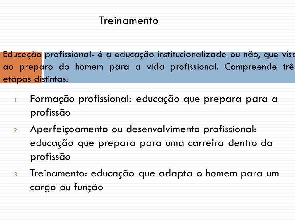 1. Formação profissional: educação que prepara para a profissão 2. Aperfeiçoamento ou desenvolvimento profissional: educação que prepara para uma carr