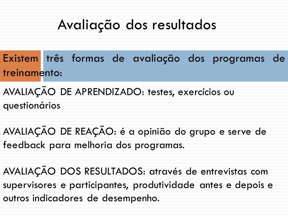 AVALIAÇÃO DE APRENDIZADO: testes, exercícios ou questionários AVALIAÇÃO DE REAÇÃO: é a opinião do grupo e serve de feedback para melhoria dos programa