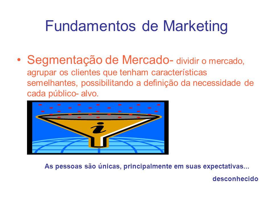 Fundamentos de Marketing Segmentação de Mercado- dividir o mercado, agrupar os clientes que tenham características semelhantes, possibilitando a defin
