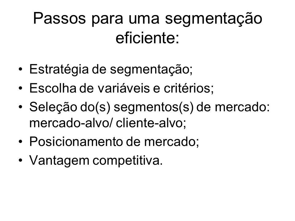 Passos para uma segmentação eficiente: Estratégia de segmentação; Escolha de variáveis e critérios; Seleção do(s) segmentos(s) de mercado: mercado-alv