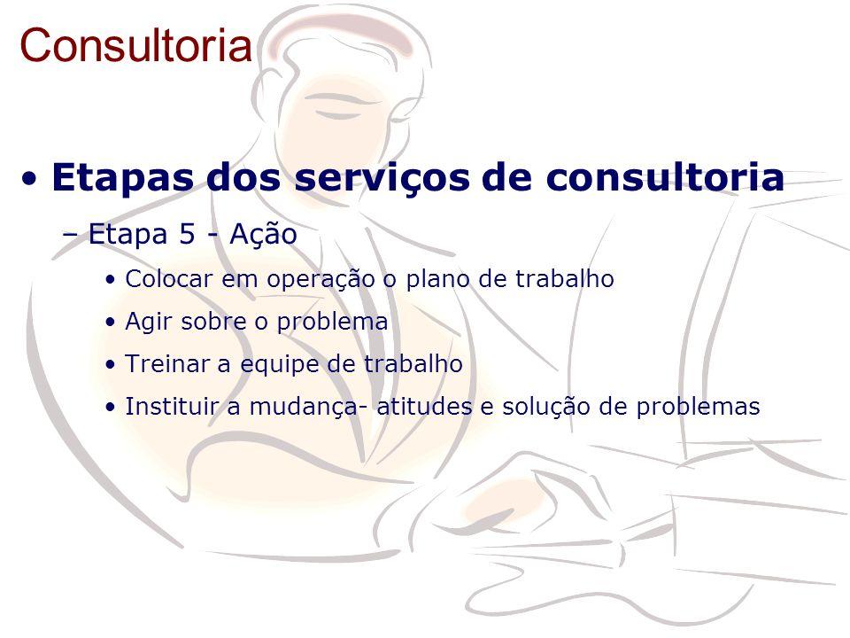 Consultoria Etapas dos serviços de consultoria –Etapa 5 - Ação Colocar em operação o plano de trabalho Agir sobre o problema Treinar a equipe de traba