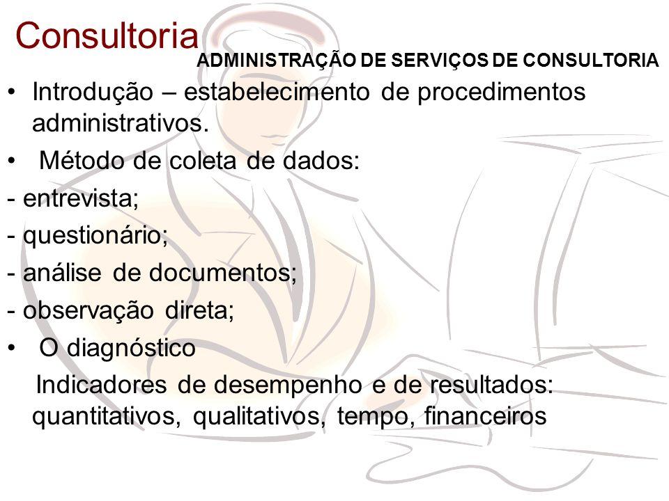 Consultoria Introdução – estabelecimento de procedimentos administrativos. Método de coleta de dados: - entrevista; - questionário; - análise de docum