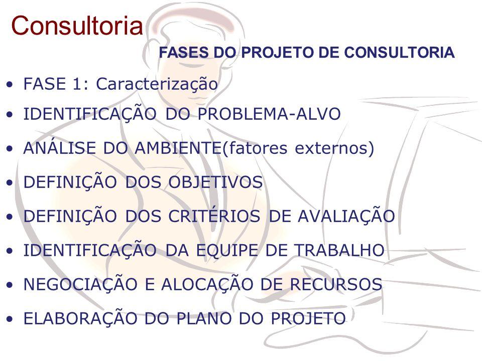 Consultoria FASE 1: Caracterização IDENTIFICAÇÃO DO PROBLEMA-ALVO ANÁLISE DO AMBIENTE(fatores externos) DEFINIÇÃO DOS OBJETIVOS DEFINIÇÃO DOS CRITÉRIO