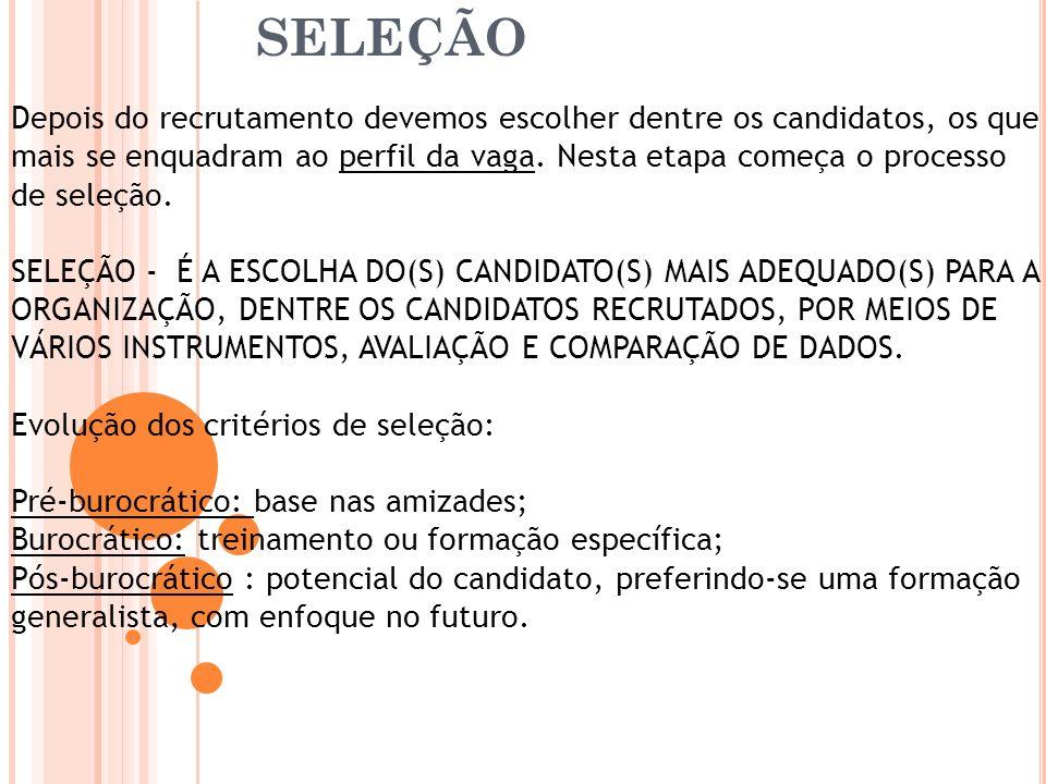 Seleção de pessoas Depois do recrutamento devemos escolher dentre os candidatos, os que mais se enquadram ao perfil da vaga. Nesta etapa começa o proc