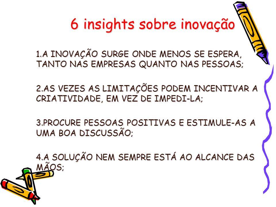 6 insights sobre inovação 1.A INOVAÇÃO SURGE ONDE MENOS SE ESPERA, TANTO NAS EMPRESAS QUANTO NAS PESSOAS; 2.AS VEZES AS LIMITAÇÕES PODEM INCENTIVAR A