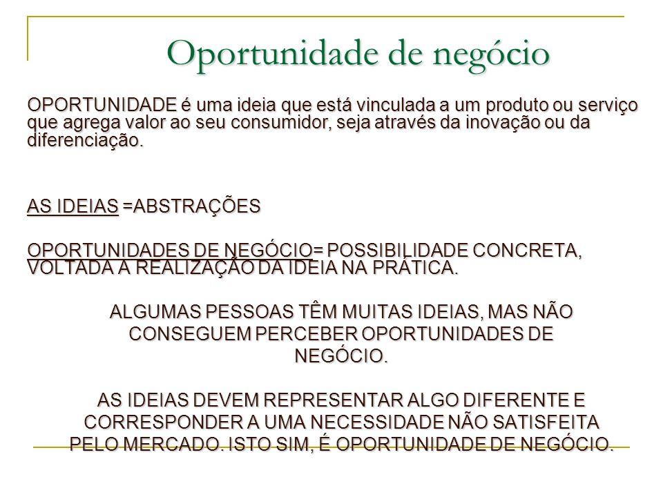 Oportunidade de negócio OPORTUNIDADE é uma ideia que está vinculada a um produto ou serviço que agrega valor ao seu consumidor, seja através da inovaç