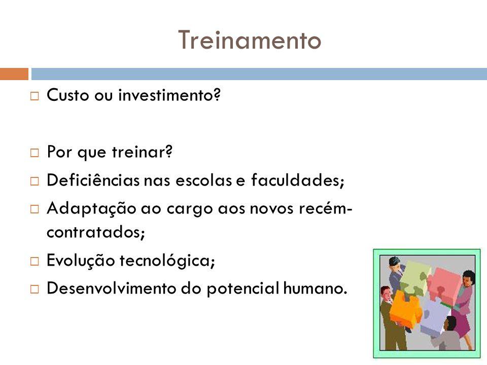 Treinamento Custo ou investimento? Por que treinar? Deficiências nas escolas e faculdades; Adaptação ao cargo aos novos recém- contratados; Evolução t