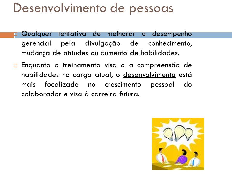 Desenvolvimento de pessoas Qualquer tentativa de melhorar o desempenho gerencial pela divulgação de conhecimento, mudança de atitudes ou aumento de ha