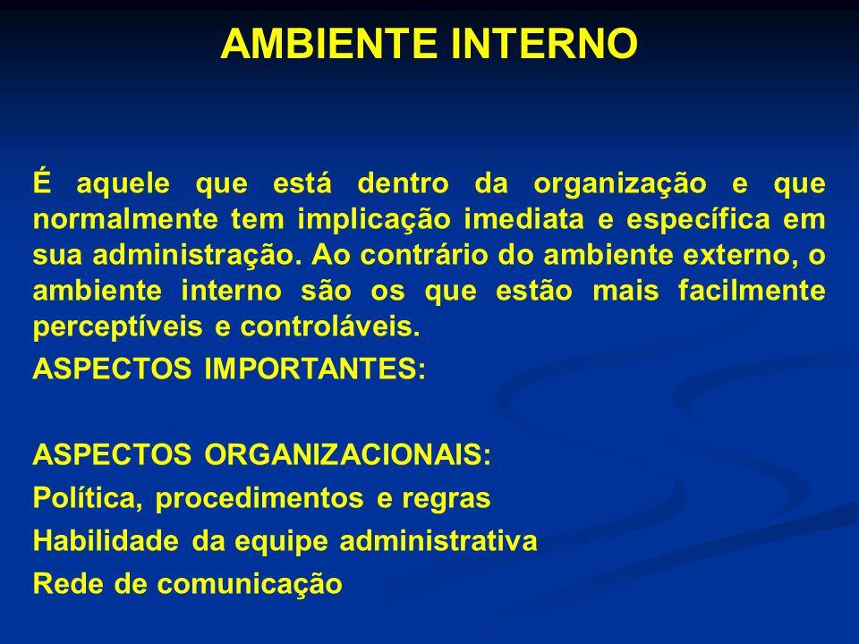 É aquele que está dentro da organização e que normalmente tem implicação imediata e específica em sua administração. Ao contrário do ambiente externo,