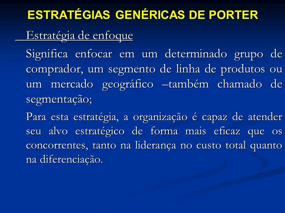 Estratégia de enfoque Significa enfocar em um determinado grupo de comprador, um segmento de linha de produtos ou um mercado geográfico –também chamad