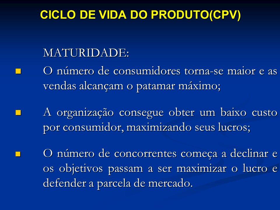 MATURIDADE: O número de consumidores torna-se maior e as vendas alcançam o patamar máximo; O número de consumidores torna-se maior e as vendas alcança