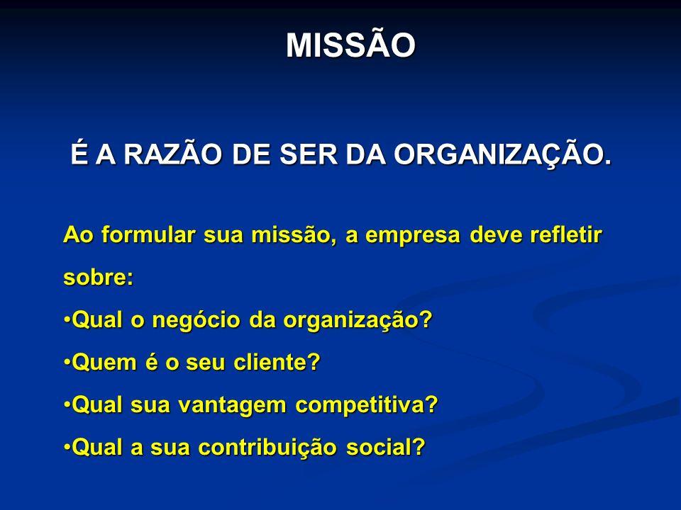 MISSÃO Ao formular sua missão, a empresa deve refletir sobre: Qual o negócio da organização?Qual o negócio da organização? Quem é o seu cliente?Quem é