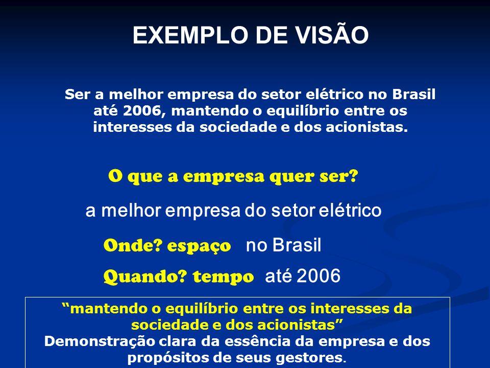 EXEMPLO DE VISÃO Ser a melhor empresa do setor elétrico no Brasil até 2006, mantendo o equilíbrio entre os interesses da sociedade e dos acionistas. a