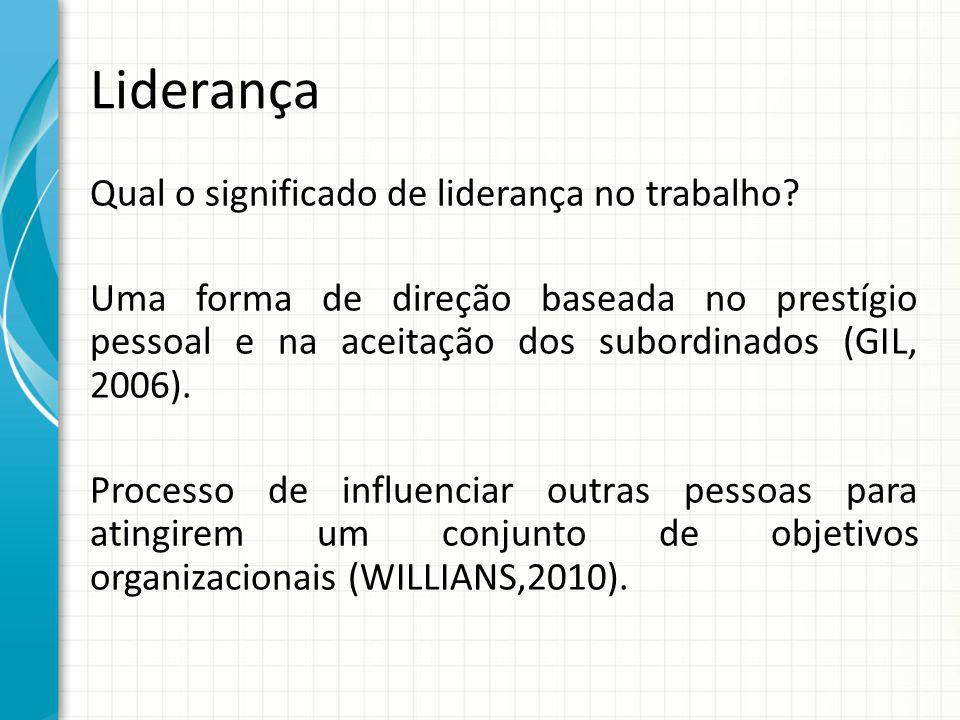 Liderança Qual o significado de liderança no trabalho? Uma forma de direção baseada no prestígio pessoal e na aceitação dos subordinados (GIL, 2006).