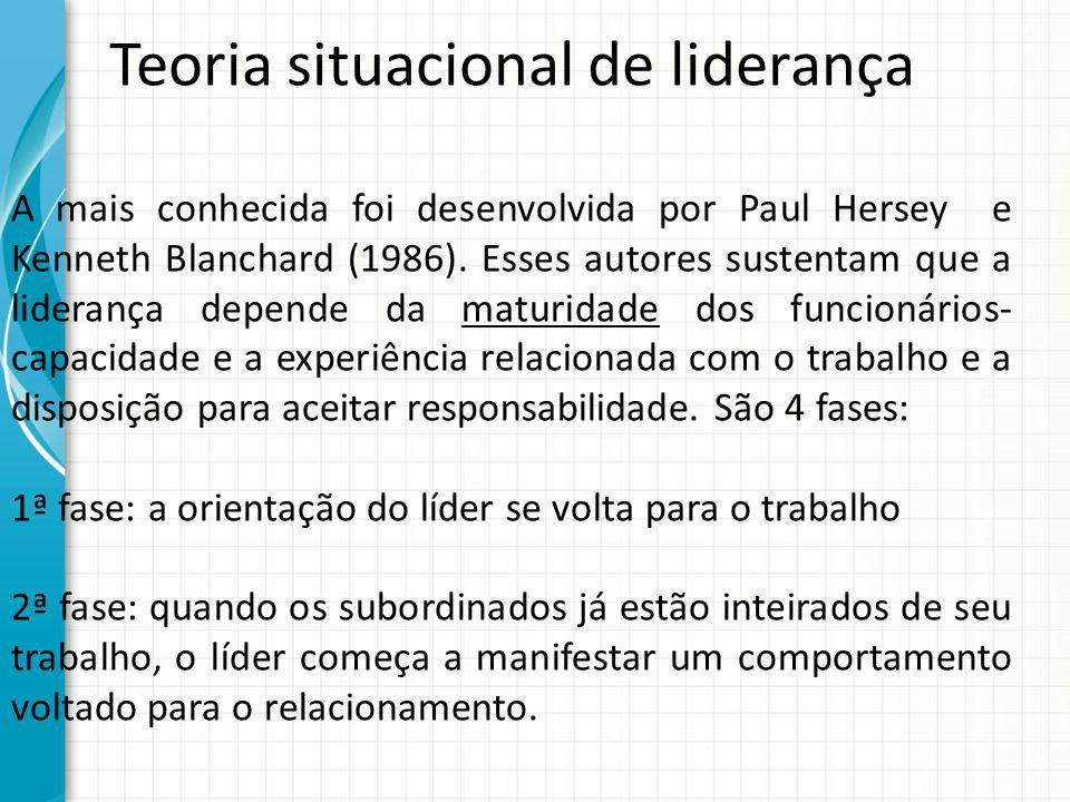 Teoria situacional de liderança A mais conhecida foi desenvolvida por Paul Hersey e Kenneth Blanchard (1986). Esses autores sustentam que a liderança