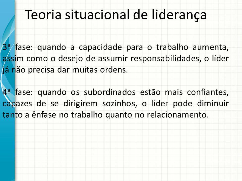 Teoria situacional de liderança 3ª fase: quando a capacidade para o trabalho aumenta, assim como o desejo de assumir responsabilidades, o líder já não