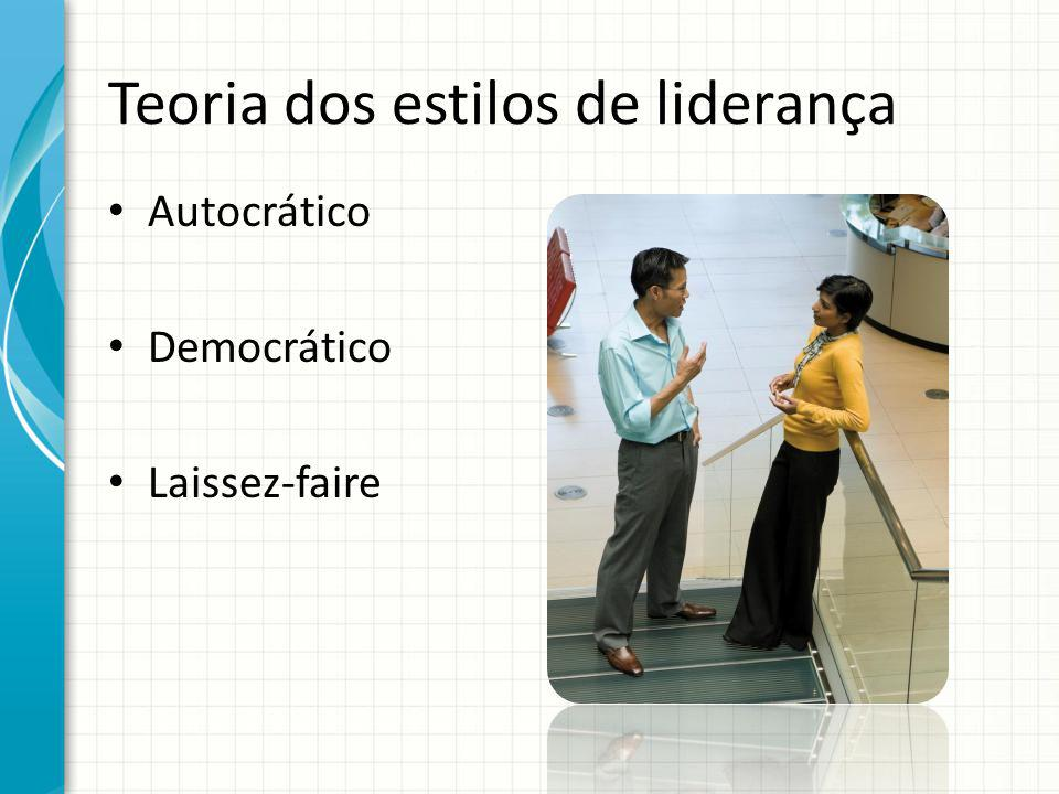 Teoria dos estilos de liderança Autocrático Democrático Laissez-faire