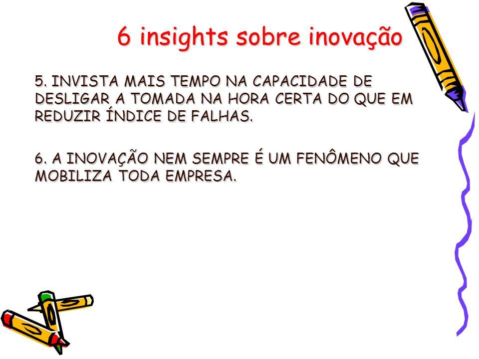 6 insights sobre inovação 5. INVISTA MAIS TEMPO NA CAPACIDADE DE DESLIGAR A TOMADA NA HORA CERTA DO QUE EM REDUZIR ÍNDICE DE FALHAS. 6. A INOVAÇÃO NEM