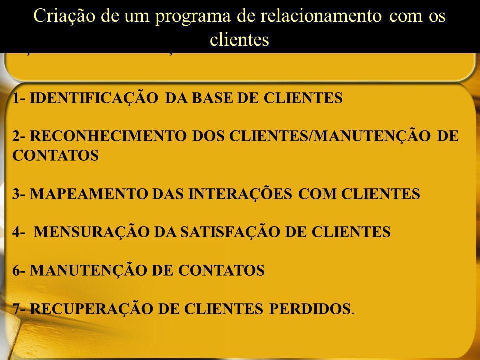 AÇÕES DE FIDELIZAÇÃO 1- IDENTIFICAÇÃO DA BASE DE CLIENTES 2- RECONHECIMENTO DOS CLIENTES/MANUTENÇÃO DE CONTATOS 3- MAPEAMENTO DAS INTERAÇÕES COM CLIEN