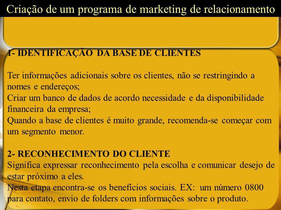 1- IDENTIFICAÇÃO DA BASE DE CLIENTES Ter informações adicionais sobre os clientes, não se restringindo a nomes e endereços; Criar um banco de dados de