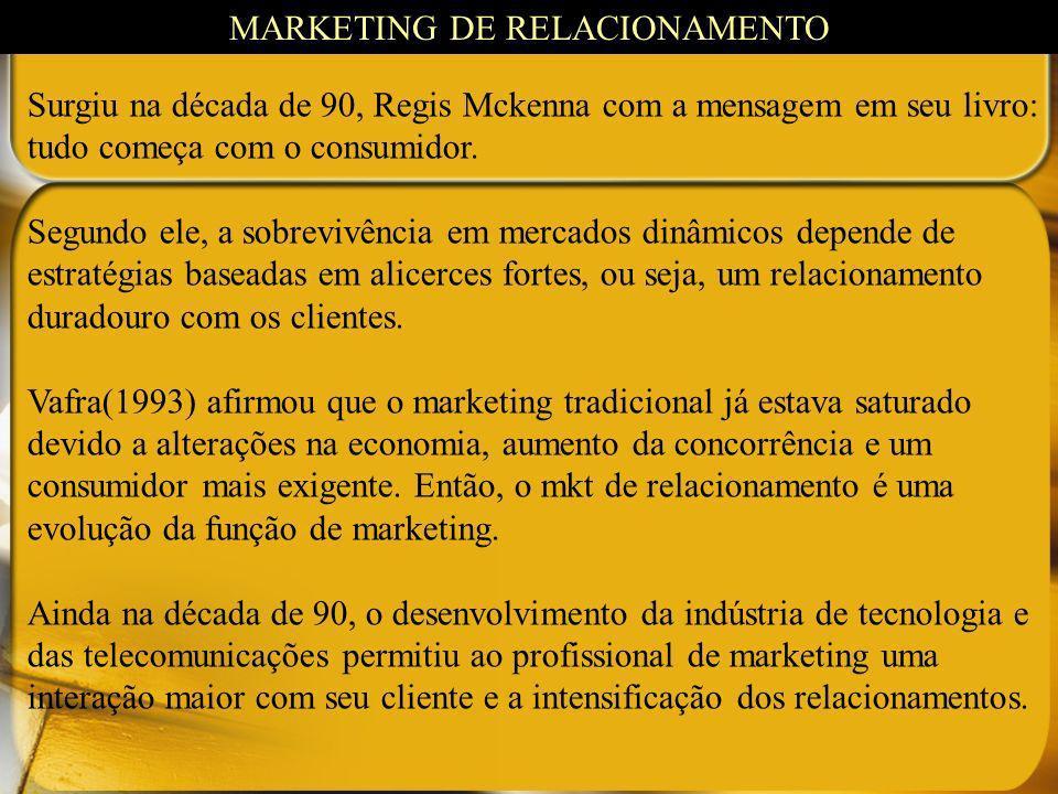 Surgiu na década de 90, Regis Mckenna com a mensagem em seu livro: tudo começa com o consumidor. Segundo ele, a sobrevivência em mercados dinâmicos de
