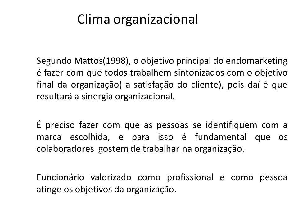 Clima organizacional Segundo Mattos(1998), o objetivo principal do endomarketing é fazer com que todos trabalhem sintonizados com o objetivo final da