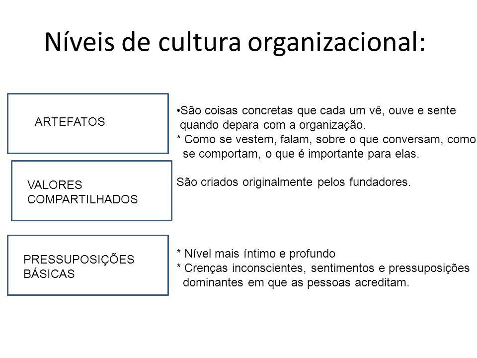 Níveis de cultura organizacional: A ARTEFATOS PRESSUPOSIÇÕES BÁSICAS VALORES COMPARTILHADOS São coisas concretas que cada um vê, ouve e sente quando d