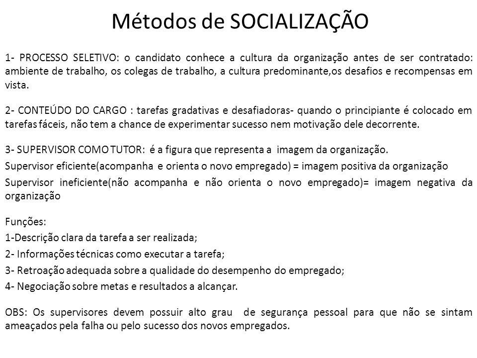 Métodos de SOCIALIZAÇÃO 1- PROCESSO SELETIVO: o candidato conhece a cultura da organização antes de ser contratado: ambiente de trabalho, os colegas d