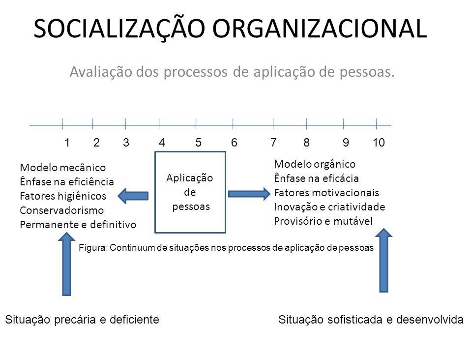 SOCIALIZAÇÃO ORGANIZACIONAL Avaliação dos processos de aplicação de pessoas. Modelo mecânico Ênfase na eficiência Fatores higiênicos Conservadorismo P