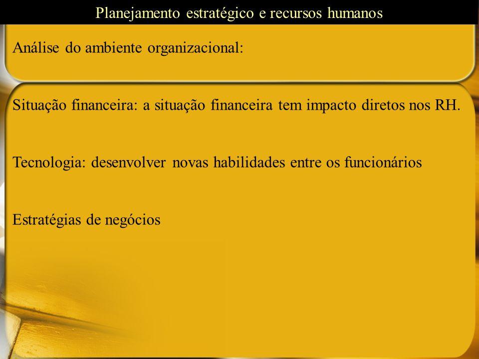 Análise do ambiente organizacional: Situação financeira: a situação financeira tem impacto diretos nos RH. Tecnologia: desenvolver novas habilidades e