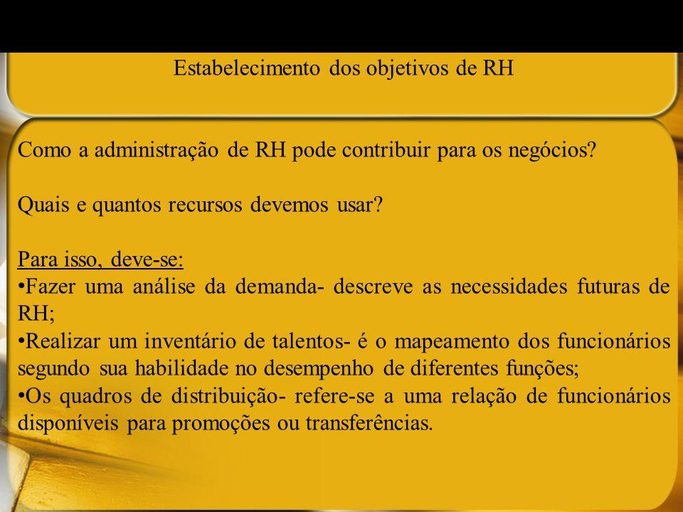Estabelecimento dos objetivos de RH Como a administração de RH pode contribuir para os negócios? Quais e quantos recursos devemos usar? Para isso, dev