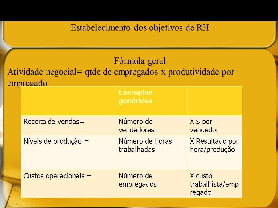 Estabelecimento dos objetivos de RH Fórmula geral Atividade negocial= qtde de empregados x produtividade por empregado Exemplos genéricos Receita de v