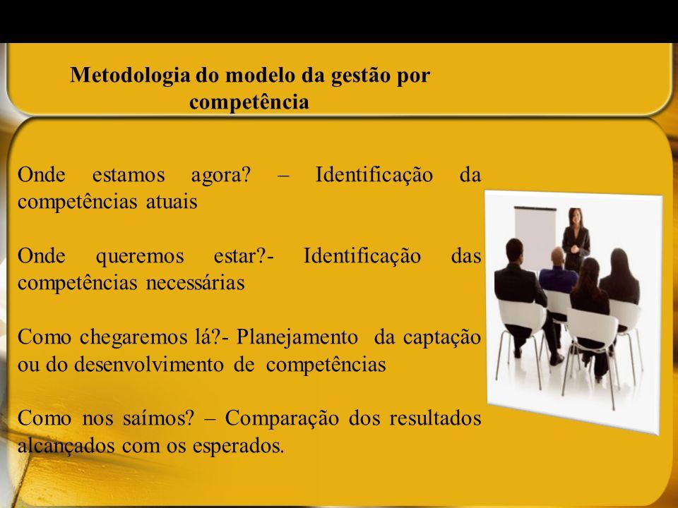 Metodologia do modelo da gestão por competência Onde estamos agora? – Identificação da competências atuais Onde queremos estar?- Identificação das com