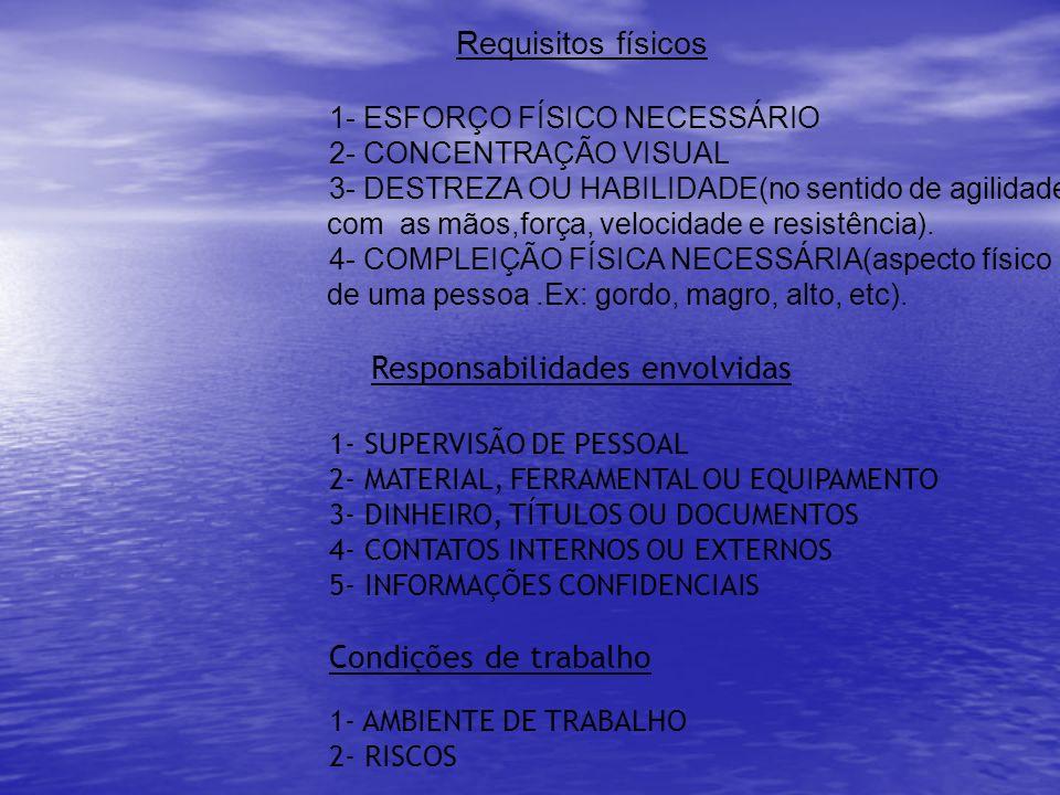 Requisitos físicos 1- ESFORÇO FÍSICO NECESSÁRIO 2- CONCENTRAÇÃO VISUAL 3- DESTREZA OU HABILIDADE(no sentido de agilidade com as mãos,força, velocidade