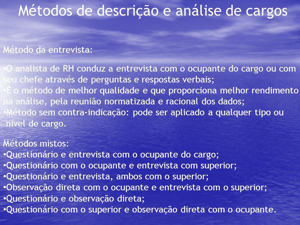 Métodos de descrição e análise de cargos Método da entrevista: O analista de RH conduz a entrevista com o ocupante do cargo ou com seu chefe através d