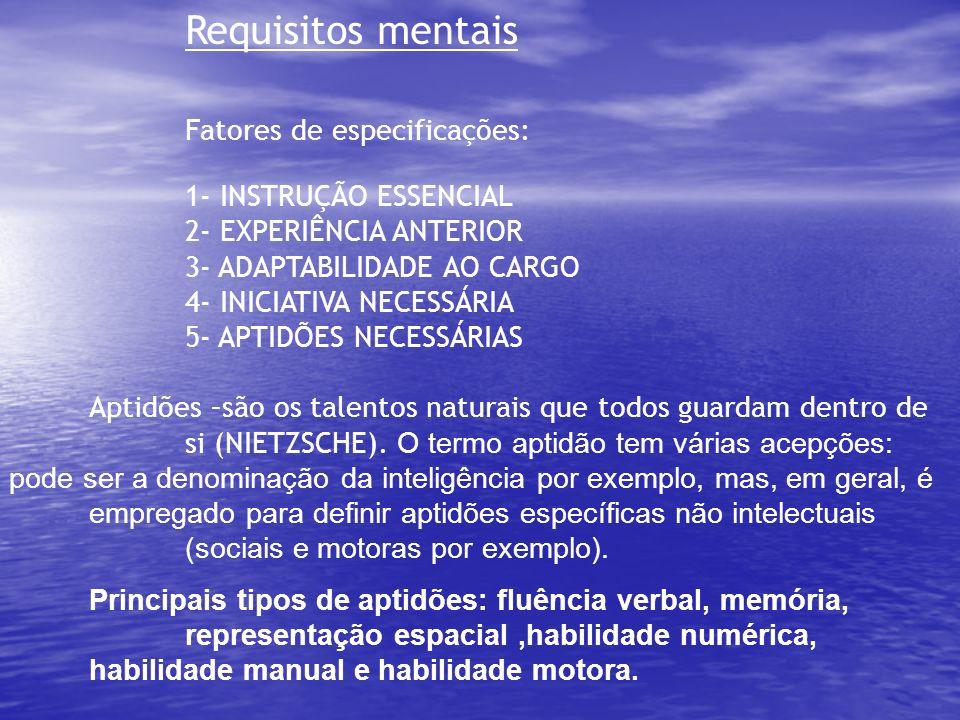 Requisitos físicos 1- ESFORÇO FÍSICO NECESSÁRIO 2- CONCENTRAÇÃO VISUAL 3- DESTREZA OU HABILIDADE (no sentido de agilidade com as mãos,força, velocidade e resistência).