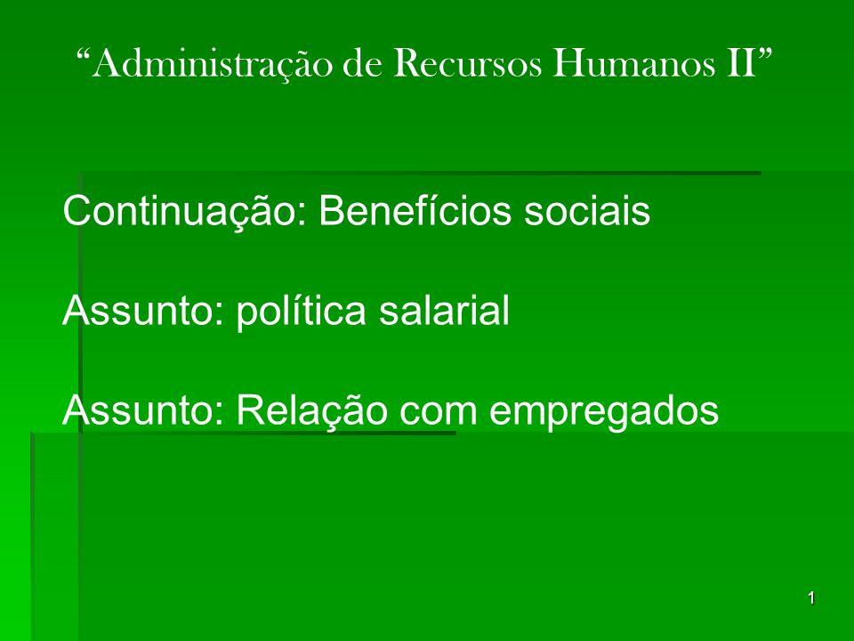 1 Continuação: Benefícios sociais Assunto: política salarial Assunto: Relação com empregados Administração de Recursos Humanos II