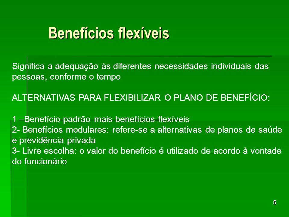 5 Benefícios flexíveis Significa a adequação às diferentes necessidades individuais das pessoas, conforme o tempo ALTERNATIVAS PARA FLEXIBILIZAR O PLA
