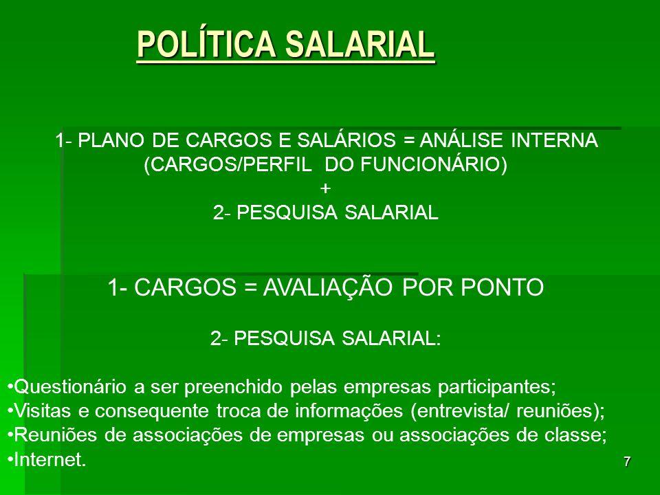 7 POLÍTICA SALARIAL POLÍTICA SALARIAL 1- PLANO DE CARGOS E SALÁRIOS = ANÁLISE INTERNA (CARGOS/PERFIL DO FUNCIONÁRIO) + 2- PESQUISA SALARIAL 1- CARGOS