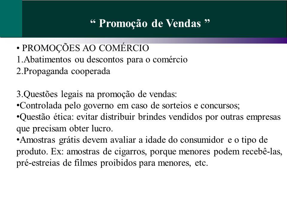 Promoção de Vendas PROMOÇÕES AO COMÉRCIO 1.Abatimentos ou descontos para o comércio 2.Propaganda cooperada 3.Questões legais na promoção de vendas: Co