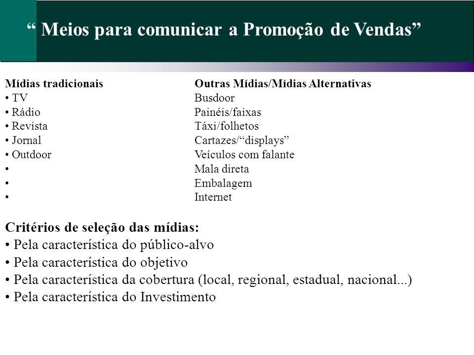 Meios para comunicar a Promoção de Vendas Mídias tradicionaisOutras Mídias/Mídias Alternativas TVBusdoor RádioPainéis/faixas RevistaTáxi/folhetos Jorn