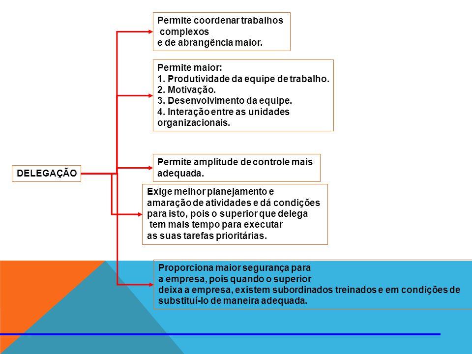 DELEGAÇÃO Permite coordenar trabalhos complexos e de abrangência maior. Permite maior: 1. Produtividade da equipe de trabalho. 2. Motivação. 3. Desenv