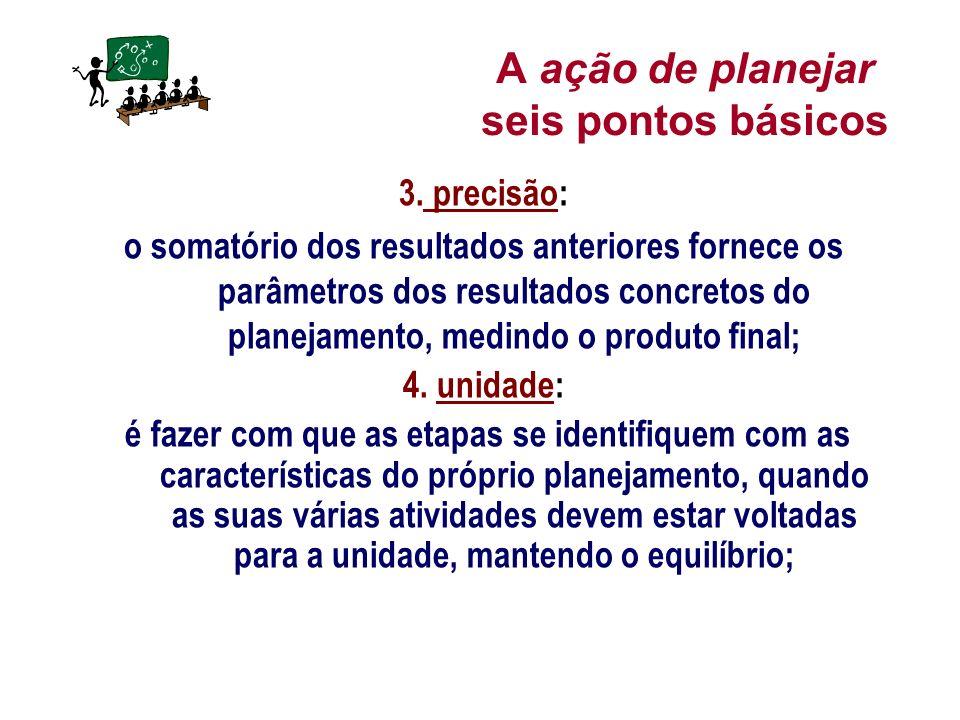 A ação de planejar seis pontos básicos 3. precisão: o somatório dos resultados anteriores fornece os parâmetros dos resultados concretos do planejamen