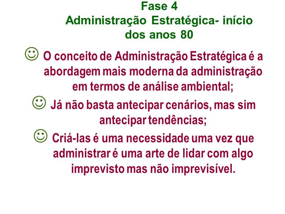 Fase 4 Administração Estratégica- início dos anos 80 O conceito de Administração Estratégica é a abordagem mais moderna da administração em termos de